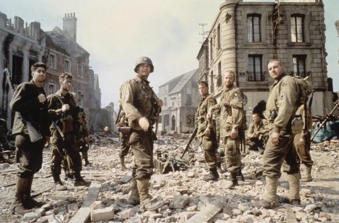 Tom Hanks and others as they appear in SAVING PRIVATE RYAN, 1998.